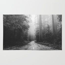 Redwood Forest Adventure Black and White - Nature Photography Rug
