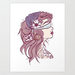 Gypsy Pink Hair Art Print