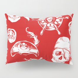 Red Pirate Pattern Pillow Sham