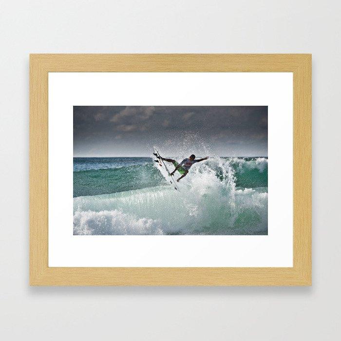 Filipe Toledo, Surfing in Hossegor, France, 2013.  Framed Art Print