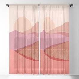 Abstraction_SUNSET_Mountains_Landscape_Minimalism_001 Sheer Curtain