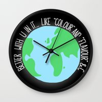 british Wall Clocks featuring British Spelling by Eat Yr Ghost