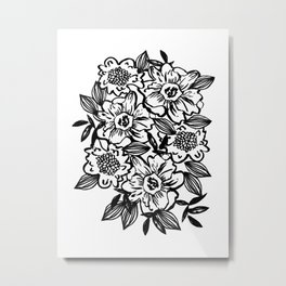 Ella - abstract floral flowers minimal modern black and white girly gender neutral boho painting Metal Print