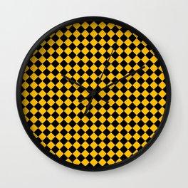 Black and Amber Orange Diamonds Wall Clock