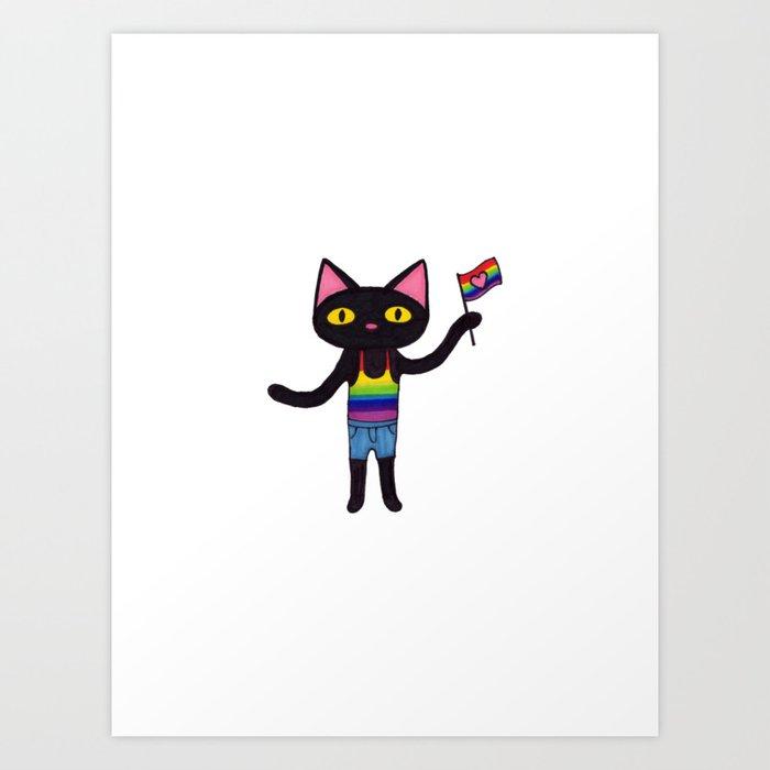 Pride Flag Black Cat Art Print