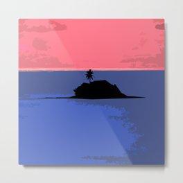 Tiny Tropical Island Framed By Pink Sky Metal Print