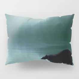 Stepping Into The Moonlight - Black Bear and Moonlit Lake Pillow Sham