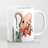 writer Mugs featuring Octopus Writer by Zekis Art