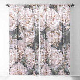 Rustic country botanical blush pink green roses floral Sheer Curtain