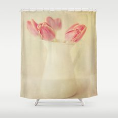 Textured Vintage Pink Tulips  Shower Curtain