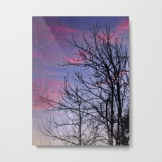 Winter Silhoutte Candy Pink Clouds Metal Print