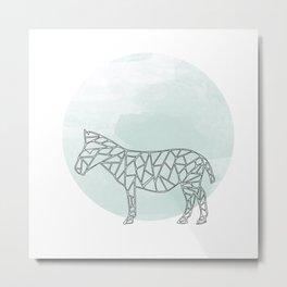 Geometric Donkey In Thin Stipes On Circle Background Metal Print