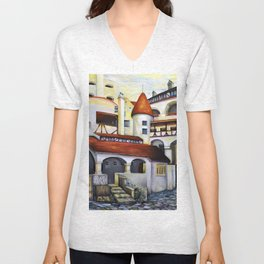 Dracula Castle - the interior courtyard Unisex V-Neck