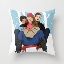 sledding  Throw Pillow