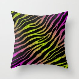 Ripped SpaceTime Stripes - Pink/Lime Throw Pillow