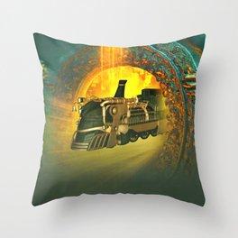 Awesome steampunk train comes through a gate Throw Pillow