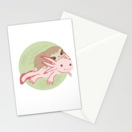 Cute Axolotl Sloth Water Aquarium Pet Animal Gift Stationery Cards