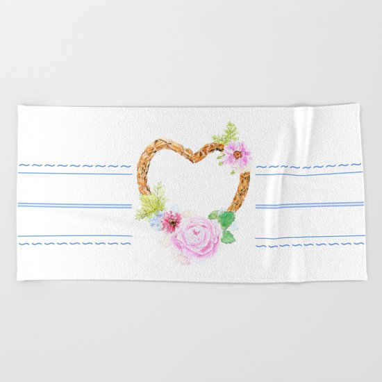 flower heart pink rose and daisy watercolor Beach Towel