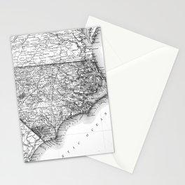 Vintage Map of North Carolina (1859) BW Stationery Cards