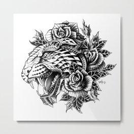 Ornate Leopard Black & White Variant Metal Print