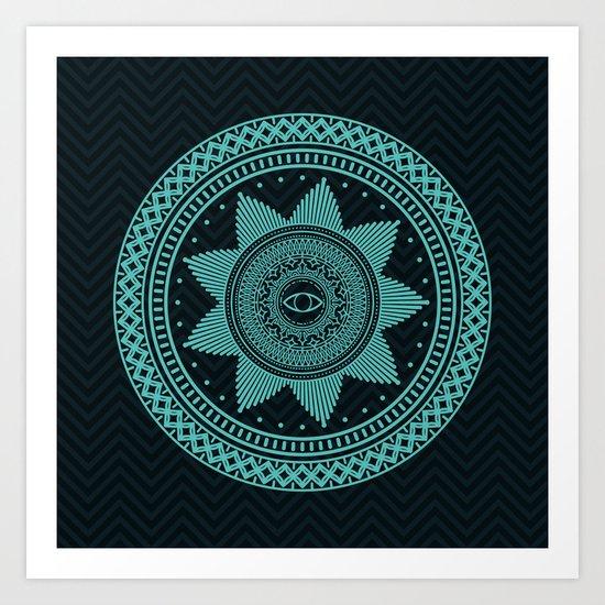 Eye of Protection Mandala Art Print