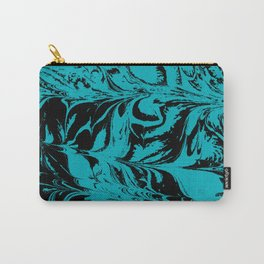 Suminagashi 2 turquoise and white marble spilled ink ocean swirl watercolor painting Carry-All Pouch