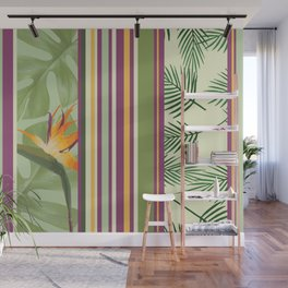 Bird of Paradise Flowers with stripes pattern Wall Mural