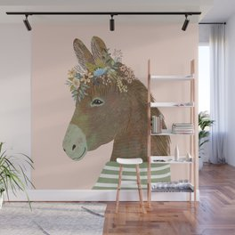 Donkey with flower crown, Kids room decor Wall Mural