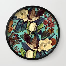 FLORAL AND BIRDS XXI Wall Clock