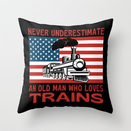 Old Man Who Loves Trains Throw Pillow