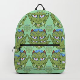 The happy red horn green demon Backpack
