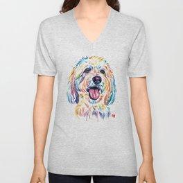 Goldendoodle, Golden Doodle - Dog Portrait Watercolor Painting Unisex V-Neck