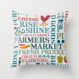 Farm Fresh Market Signage Throw Pillow