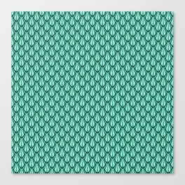 Gleaming Green Metal Scalloped Scale Pattern Canvas Print