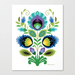 Polish Folk Flowers Teal Canvas Print