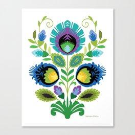 Polish Folk Flowers Teal Canvas Print