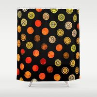 drum Shower Curtains featuring Fire Drum by M.D. Becker