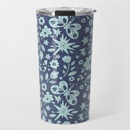 Blue Butterflies, Starfish and Flowers Travel Mug