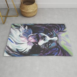 Papillon Fun Dog bright colorful Pop Art Painting by LEA Rug