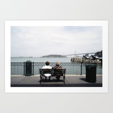 Two Women Sitting on a Bench Art Print