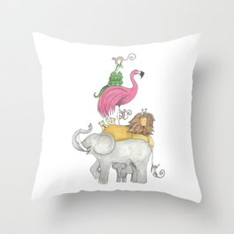 A Stack Of Animals with elephant, lion, flamingo, monkeys and snake Throw Pillow