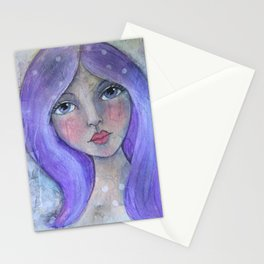 Purple Hair Whimiscal Girl Stationery Cards