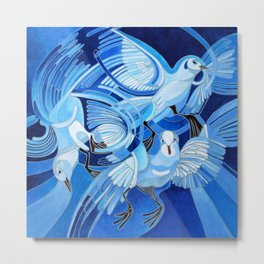 Muge's Pigeons in Blue  Metal Print
