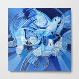 Muge's Pigeons in Blue  Metal Print