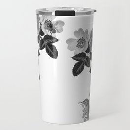 Birds and the Bees Black and White Travel Mug