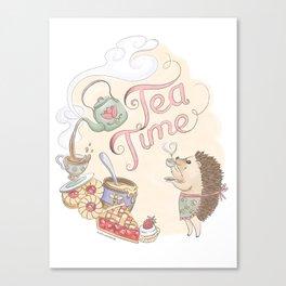 Tea Time with Harriet Hedgehog Canvas Print