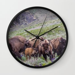 Buffalo On The Move In Yellowstone Wall Clock