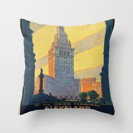 Vintage poster - Cleveland Throw Pillow