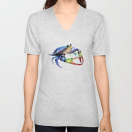 Crab, Sea World Rainbow Colors Beach Unisex V-Neck