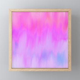 Hand painted pink lilac blue watercolor brushstrokes Framed Mini Art Print
